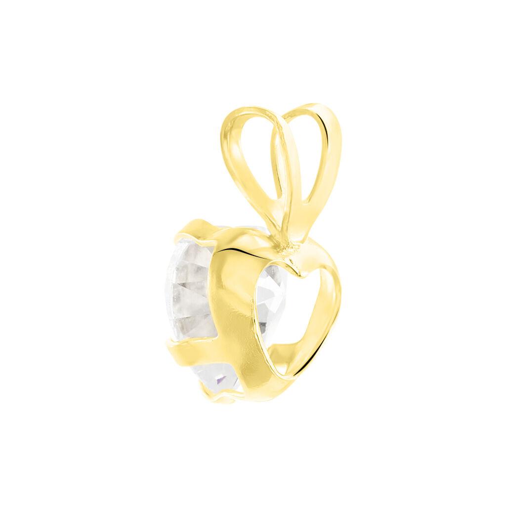 Pendentif Coeur Serti Griffe Or Jaune Oxyde De Zirconium - Pendentifs Coeur Femme   Histoire d'Or
