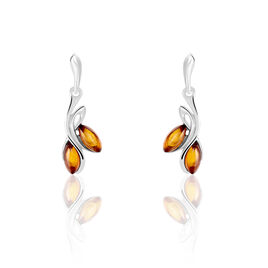 Boucles D'oreilles Pendantes Sanae Argent Blanc Ambre - Boucles d'oreilles fantaisie Femme | Histoire d'Or