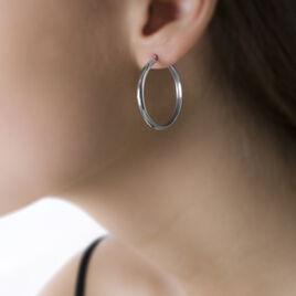 Créoles Shalana Lisses Demi Jonc Or Blanc - Boucles d'oreilles créoles Femme | Histoire d'Or