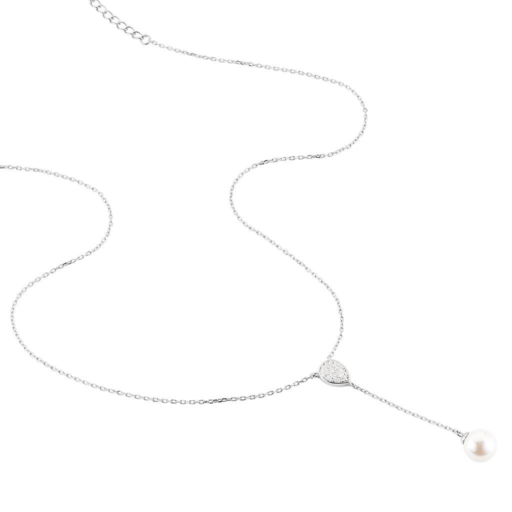 Collier Octavia Argent Blanc Perle D'imitation Et Oxyde De Zirconium - Colliers fantaisie Femme | Histoire d'Or