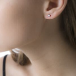 Boucles D'oreilles Puces Collection Victoria Or Blanc Diamant - Clous d'oreilles Femme | Histoire d'Or