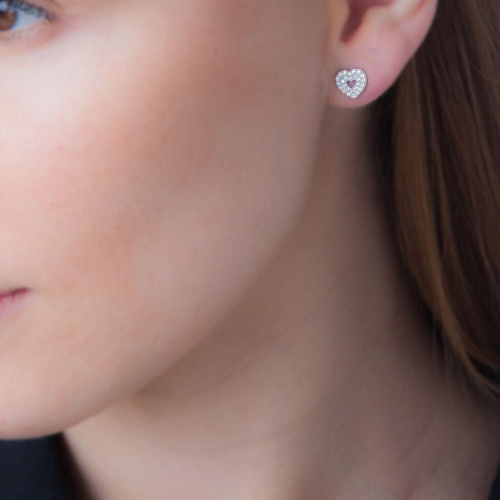 Boucles D'oreilles Puces Arwenn Argent Blanc Oxyde De Zirconium - Boucles d'Oreilles Coeur Femme   Histoire d'Or