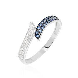 Bague Salma Or Blanc Saphir Et Diamant - Bagues avec pierre Femme   Histoire d'Or