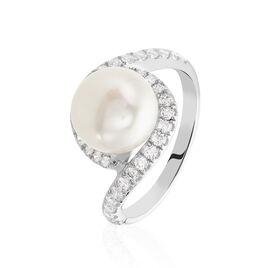Bague Loris Argent Blanc Perle De Culture Et Oxyde De Zirconium - Bagues avec pierre Femme   Histoire d'Or