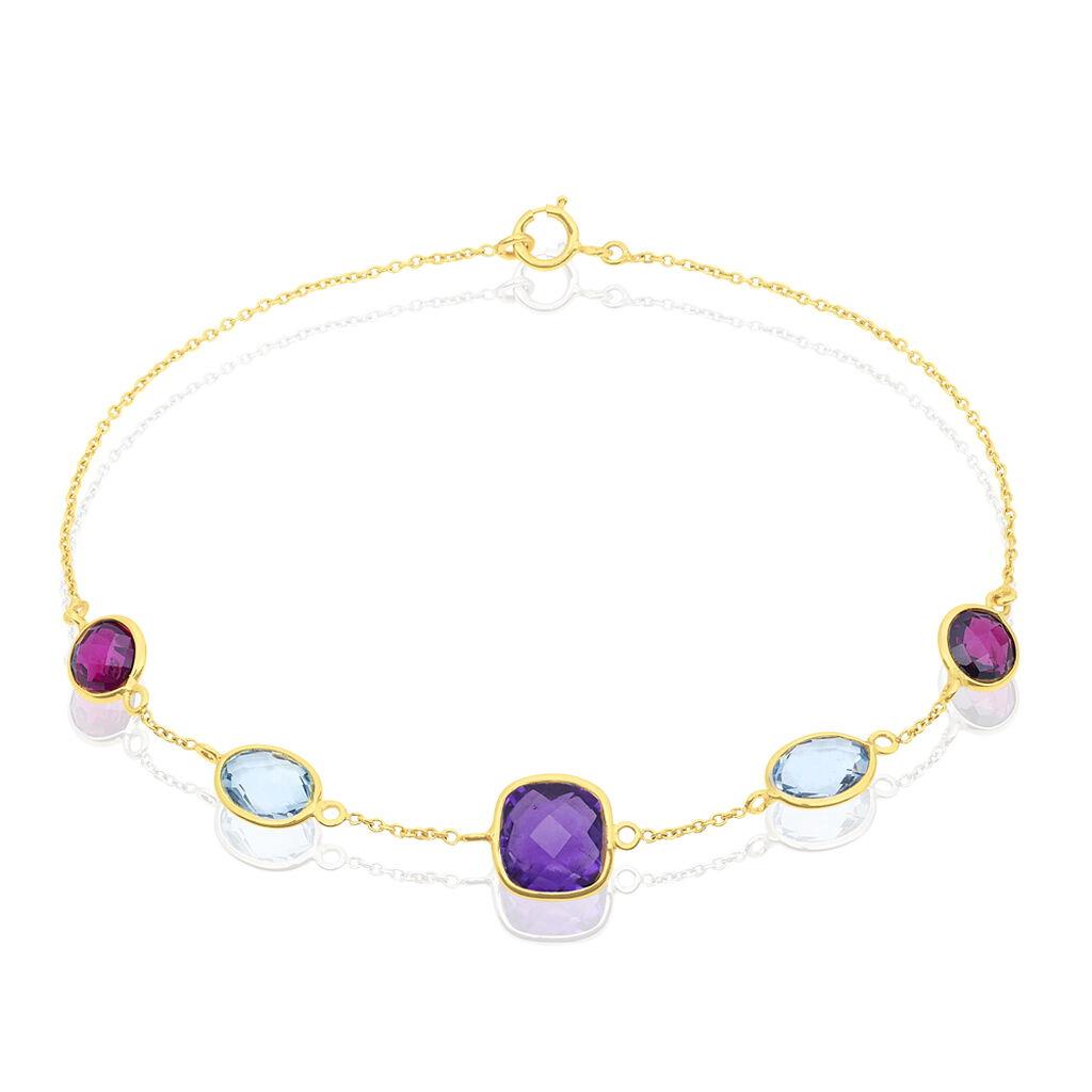 Bracelet Ambroisine Or Jaune Rhodolite Et Amethyste Et Topaze - Bijoux Femme | Histoire d'Or