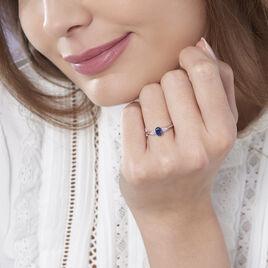 Bague Edgina Or Blanc Saphir Et Diamant - Bagues solitaires Femme   Histoire d'Or