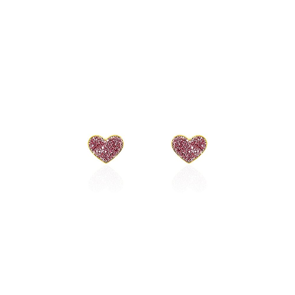 Boucles D'oreilles Puces Cerine Coeur Or Jaune - Boucles d'Oreilles Coeur Enfant | Histoire d'Or