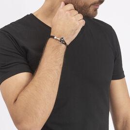 Bracelet Acier Ancre Cordon Cuir - Bijoux Ancre Homme | Histoire d'Or