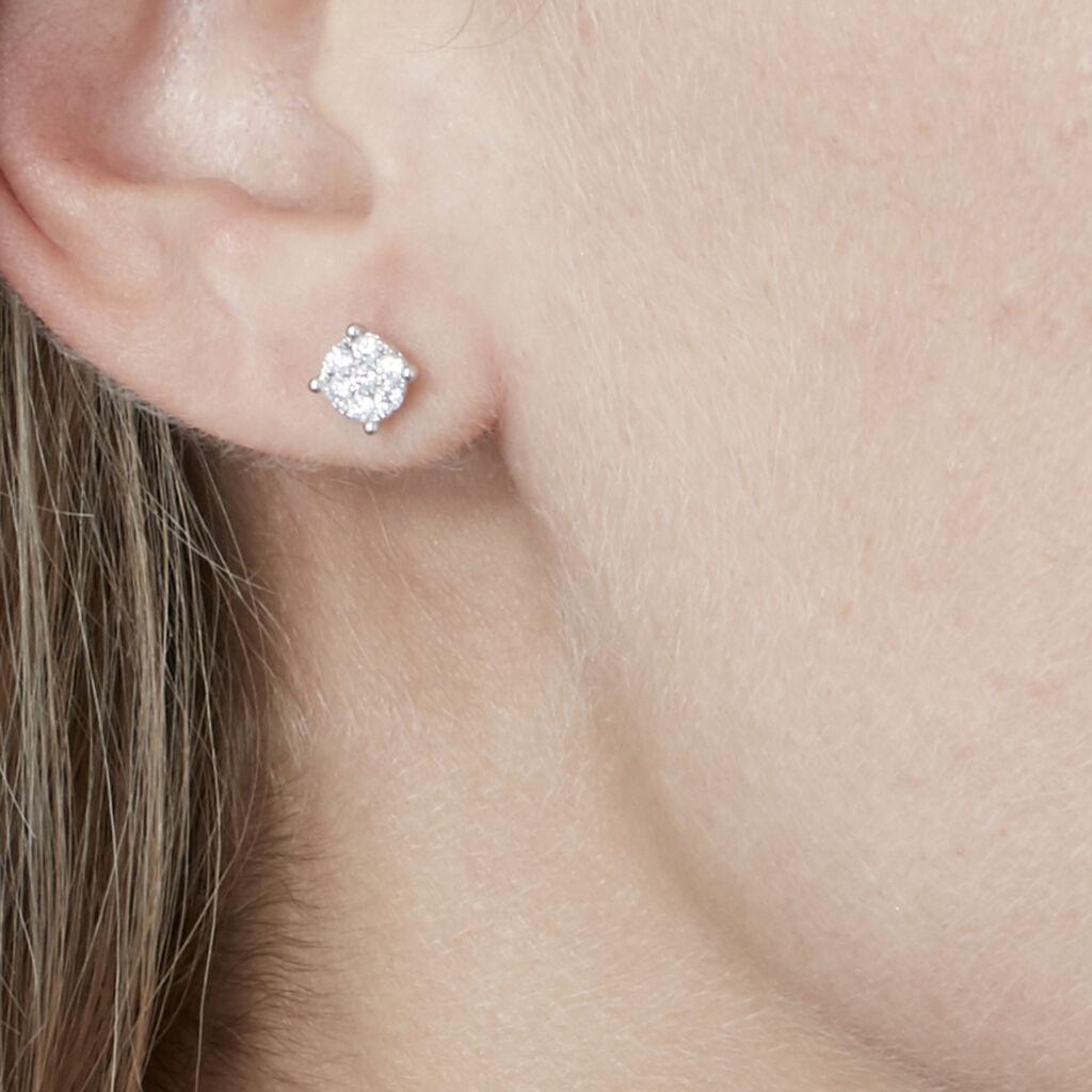 Boucles D'oreilles Puces Charlene Or Blanc Diamant Synthetique - Clous d'oreilles Femme | Histoire d'Or