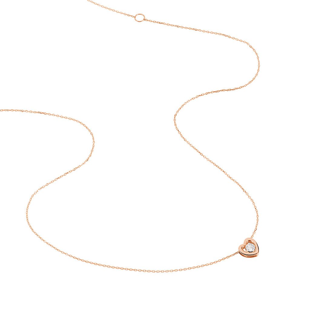 Collier Fidelia Or Rose Diamant - Colliers Coeur Femme | Histoire d'Or