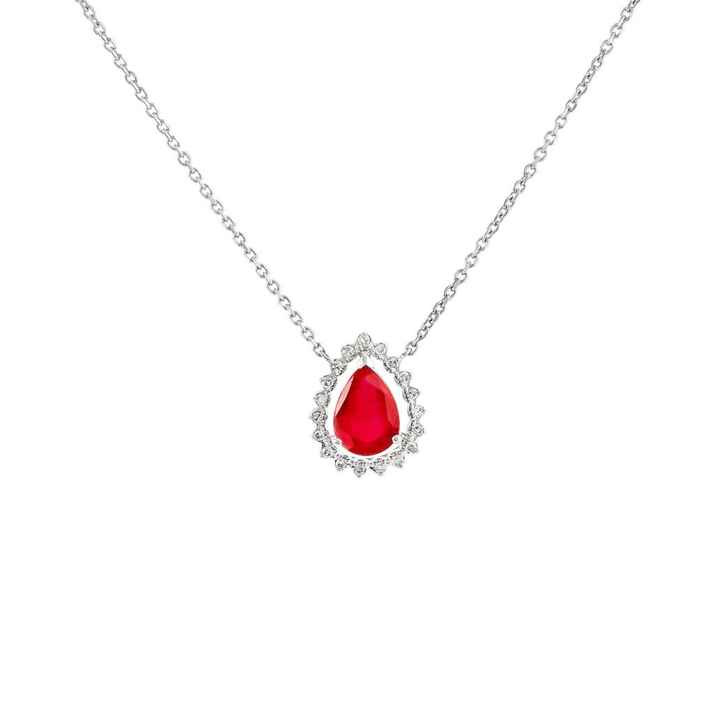 Collier Or Blanc Rubis Et Diamant - Bijoux Femme | Histoire d'Or