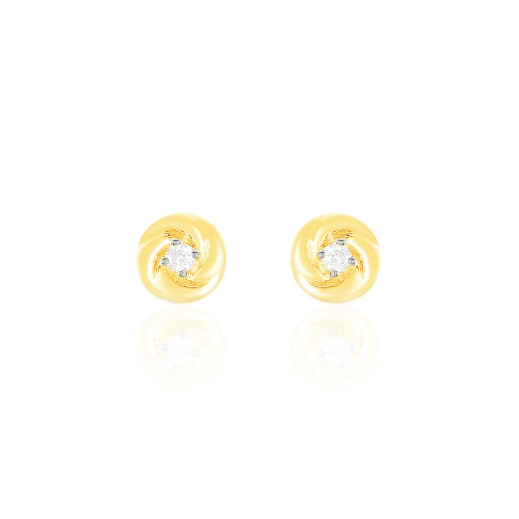 Boucles D'oreilles Puces Ofealia Or Jaune Diamant - Clous d'oreilles Femme | Histoire d'Or