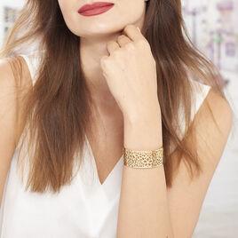 Manchette Acier Dore Fleurs Ajourees - Bracelets fantaisie Femme   Histoire d'Or