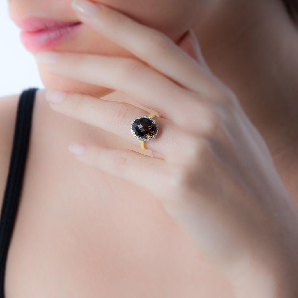 Bague Anna Or Blanc Citrine Et Diamant - Bagues avec pierre Femme   Histoire d'Or