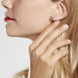 Boucles D'oreilles Puces Disney Acier Doré Rose Cristaux - Boucles d'oreilles fantaisie Femme | Histoire d'Or