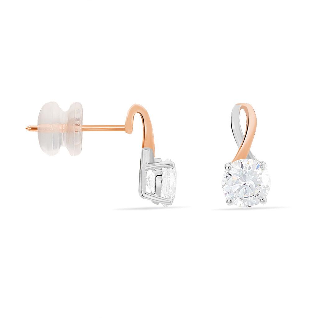 Boucles D'oreilles Pendantes Micheline Or Bicolore Oxyde De Zirconium - Boucles d'oreilles pendantes Femme   Histoire d'Or