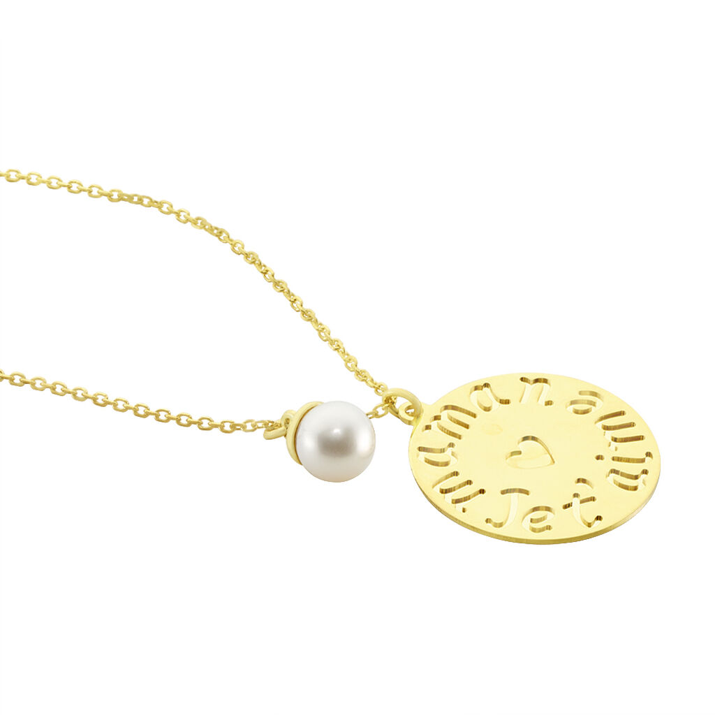 Collier May Or Jaune Perle De Culture - Colliers Coeur Femme   Histoire d'Or