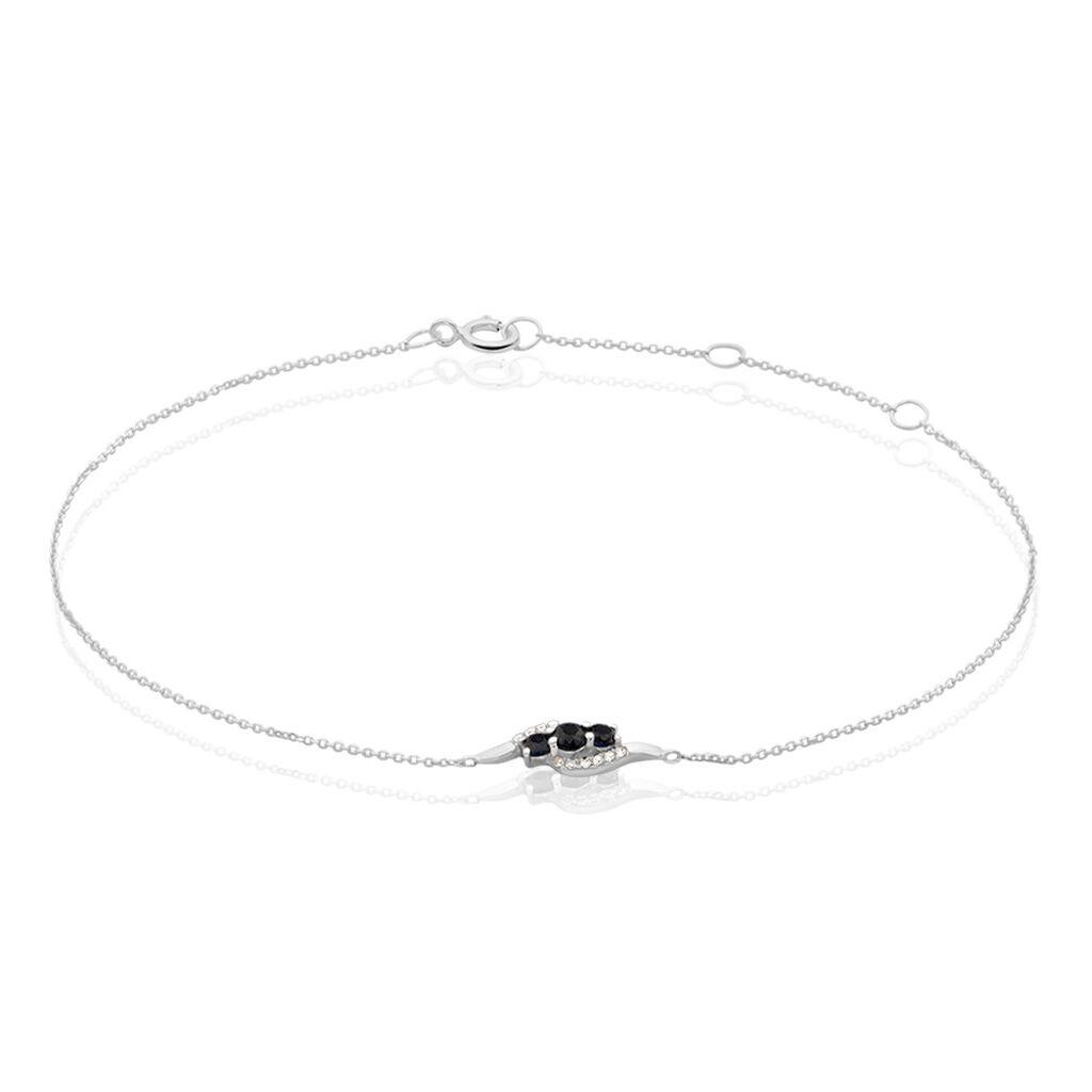 Bracelet Trinitie Or Blanc Saphir Diamant - Bijoux Femme   Histoire d'Or