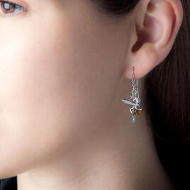 Boucles D'oreilles Argent Ambre Pendantes Fee - Boucles d'oreilles fantaisie Femme | Histoire d'Or