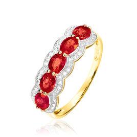 Bague Margaux Or Jaune Rubis Et Diamant - Bagues avec pierre Femme   Histoire d'Or
