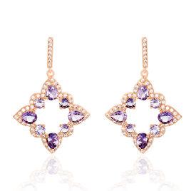 Boucles D'oreilles Pendantes Or Rose Amethyste Oxyde De Zirconium - Boucles d'oreilles pendantes Femme | Histoire d'Or