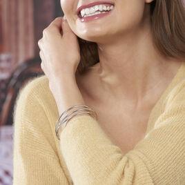 Bracelet Jonc Hugoline Argent Blanc - Bracelets joncs Femme   Histoire d'Or