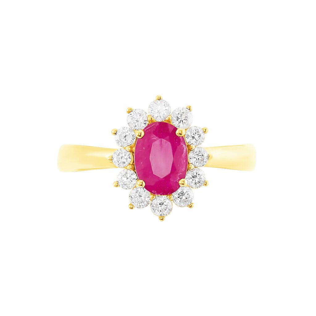 Bague Vladimir Or Jaune Rubis Et Diamant - Bagues solitaires Femme | Histoire d'Or