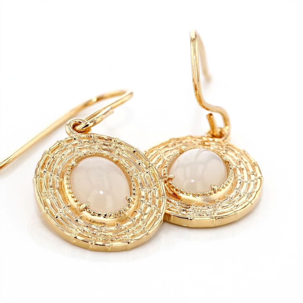 Boucles D'oreilles Pendantes Linna Plaque Or Jaune Pierre De Lune - Boucles d'oreilles fantaisie Femme   Histoire d'Or