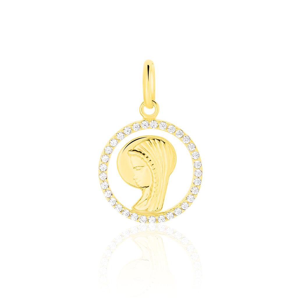 Pendentif Vierge Rond Diamante Or Jaune Oxyde De Zirconium - Bijoux Vierge Famille   Histoire d'Or