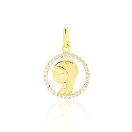 Pendentif Vierge Rond Diamante Or Jaune Oxyde De Zirconium - Bijoux Vierge Famille | Histoire d'Or
