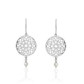Boucles D'oreilles Pendantes Yolenn Argent Perle D'imitation - Boucles d'oreilles fantaisie Femme | Histoire d'Or