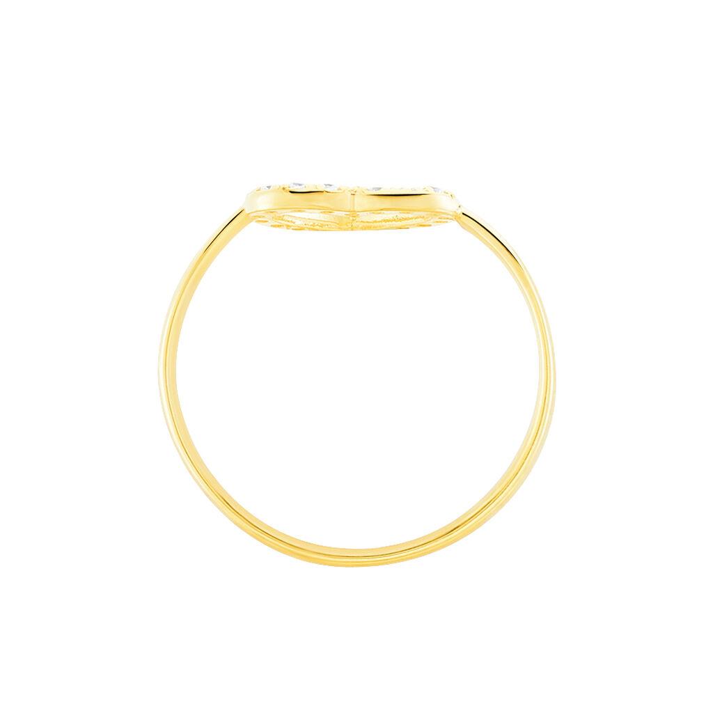 Bague Lovana Or Jaune Oxyde De Zirconium - Bagues Coeur Femme   Histoire d'Or