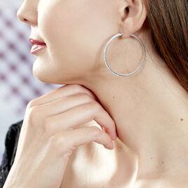 Créoles Tyhana Fil Carre Or Blanc Strass - Boucles d'oreilles créoles Femme | Histoire d'Or