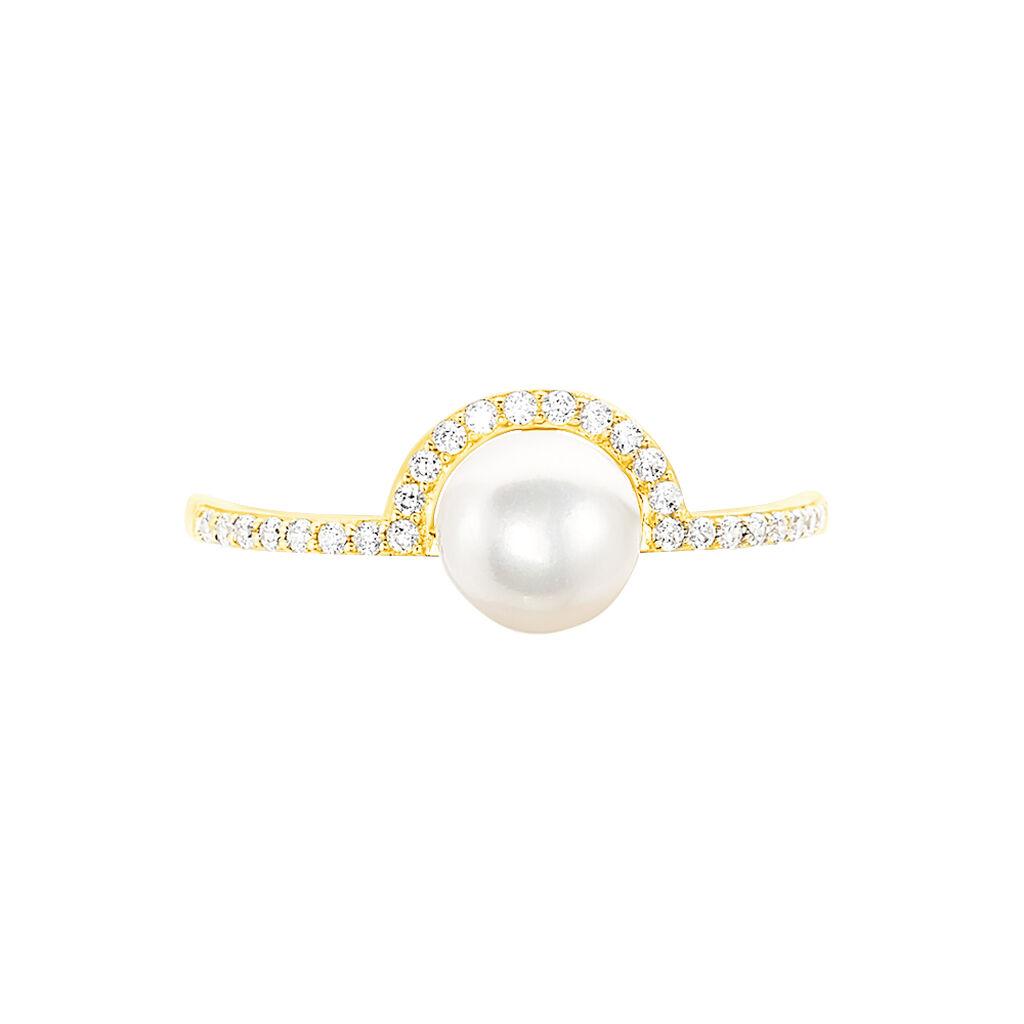 Bague Hariette Or Jaune Oxyde De Zirconium Et Perle De Culture - Bagues avec pierre Femme | Histoire d'Or