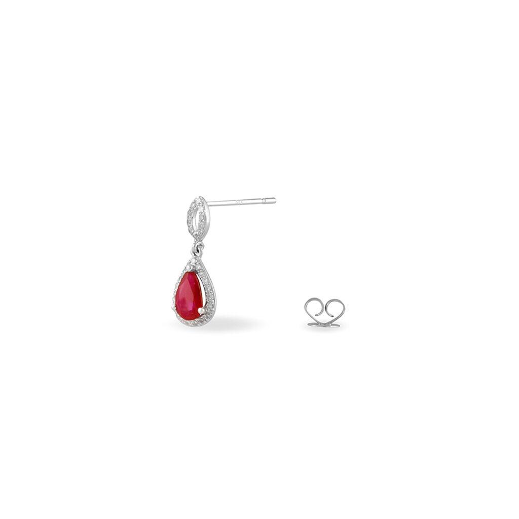 Boucles D'oreilles Puces Sissi Or Blanc Diamant Et Rubis - Boucles d'oreilles pendantes Femme | Histoire d'Or