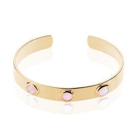 Bracelet Jonc Vaina Plaque Or Jaune Opale - Bracelets joncs Femme   Histoire d'Or