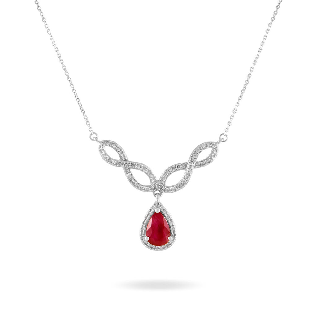 Collier Sissi Or Blanc Diamant Et Rubis - Colliers Infini Femme | Histoire d'Or
