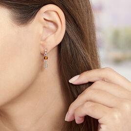 Boucles D'oreilles Argent Feuilles Ambre - Boucles d'Oreilles Plume Femme | Histoire d'Or