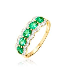 Bague Margaux Or Jaune Emeraude Et Diamant - Bagues avec pierre Femme | Histoire d'Or