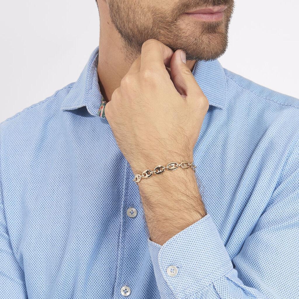 Bracelet William Maille Grain De Cafe Plaque Or Jaune - Bracelets chaîne Homme   Histoire d'Or