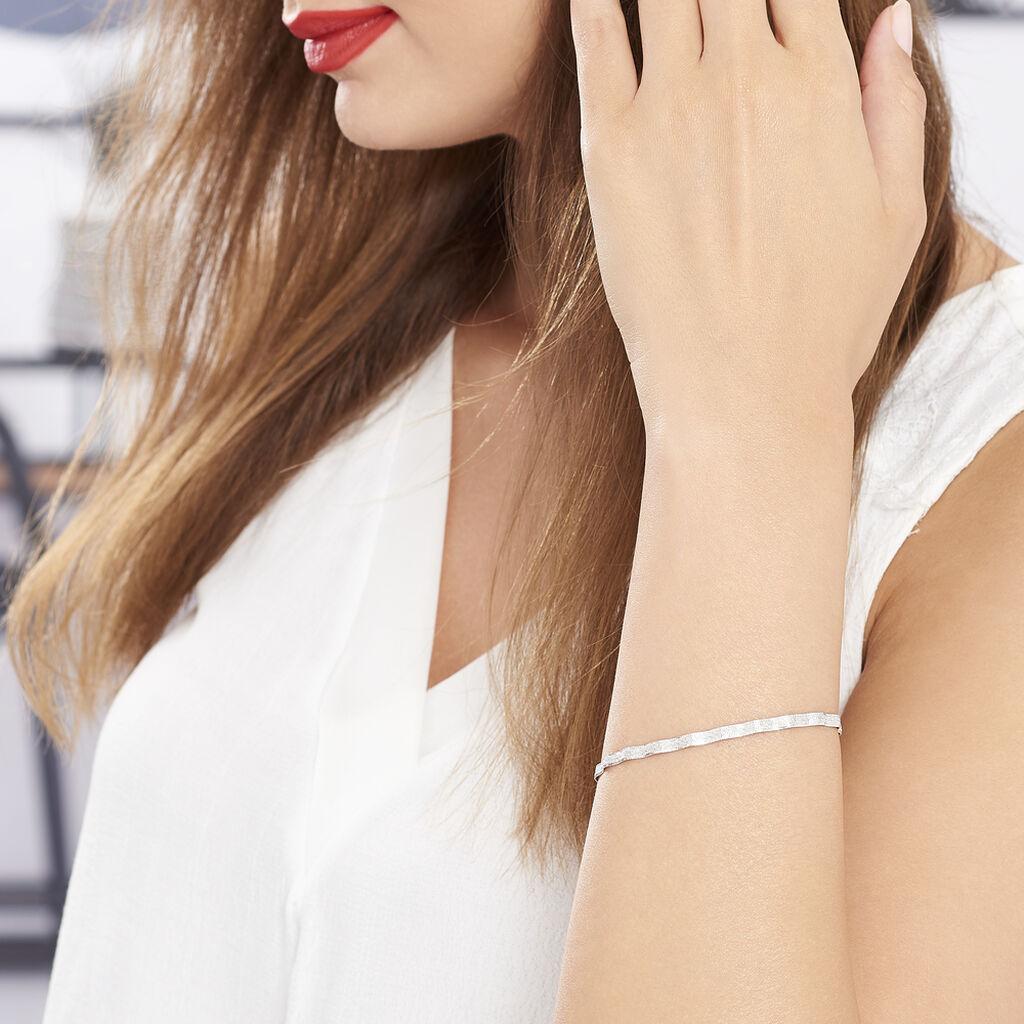 Bracelet Leonte Maille Heringbone Argent Blanc - Bracelets chaîne Femme   Histoire d'Or