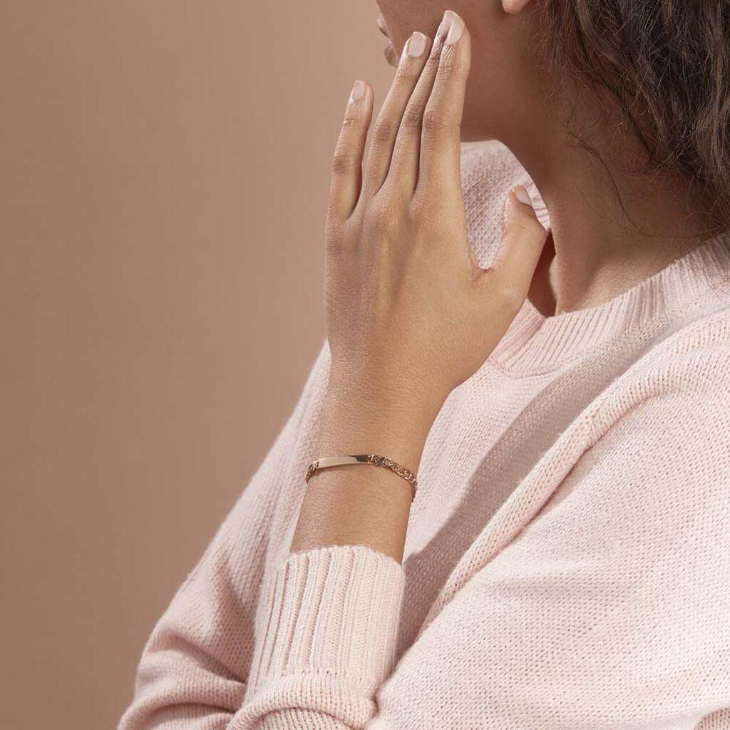 Bracelet Identité Carla Maille Gourmette Plaque Or Jaune - Bracelets fantaisie Femme   Histoire d'Or