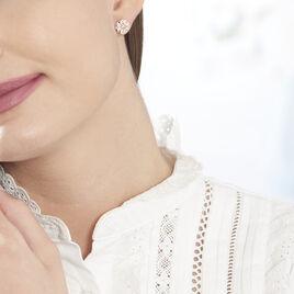 Boucles D'oreilles Puces Erinna Argent Rose Oxyde De Zirconium - Boucles d'oreilles fantaisie Femme   Histoire d'Or