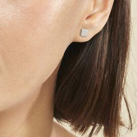 Boucles D'oreilles Puces Calia Argent Blanc - Boucles d'oreilles fantaisie Femme | Histoire d'Or
