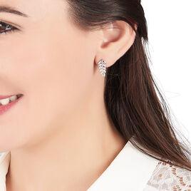 Boucles D'oreilles Puces Jade Argent Blanc Oxyde De Zirconium - Boucles d'Oreilles Plume Femme | Histoire d'Or