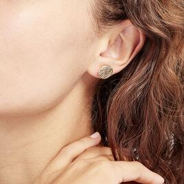 Boucles D'oreilles Puces Blanka Plaque Or Jaune - Boucles d'oreilles fantaisie Femme   Histoire d'Or