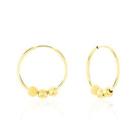 Créoles Ariel Boules Sablees Or Jaune - Boucles d'oreilles créoles Femme | Histoire d'Or