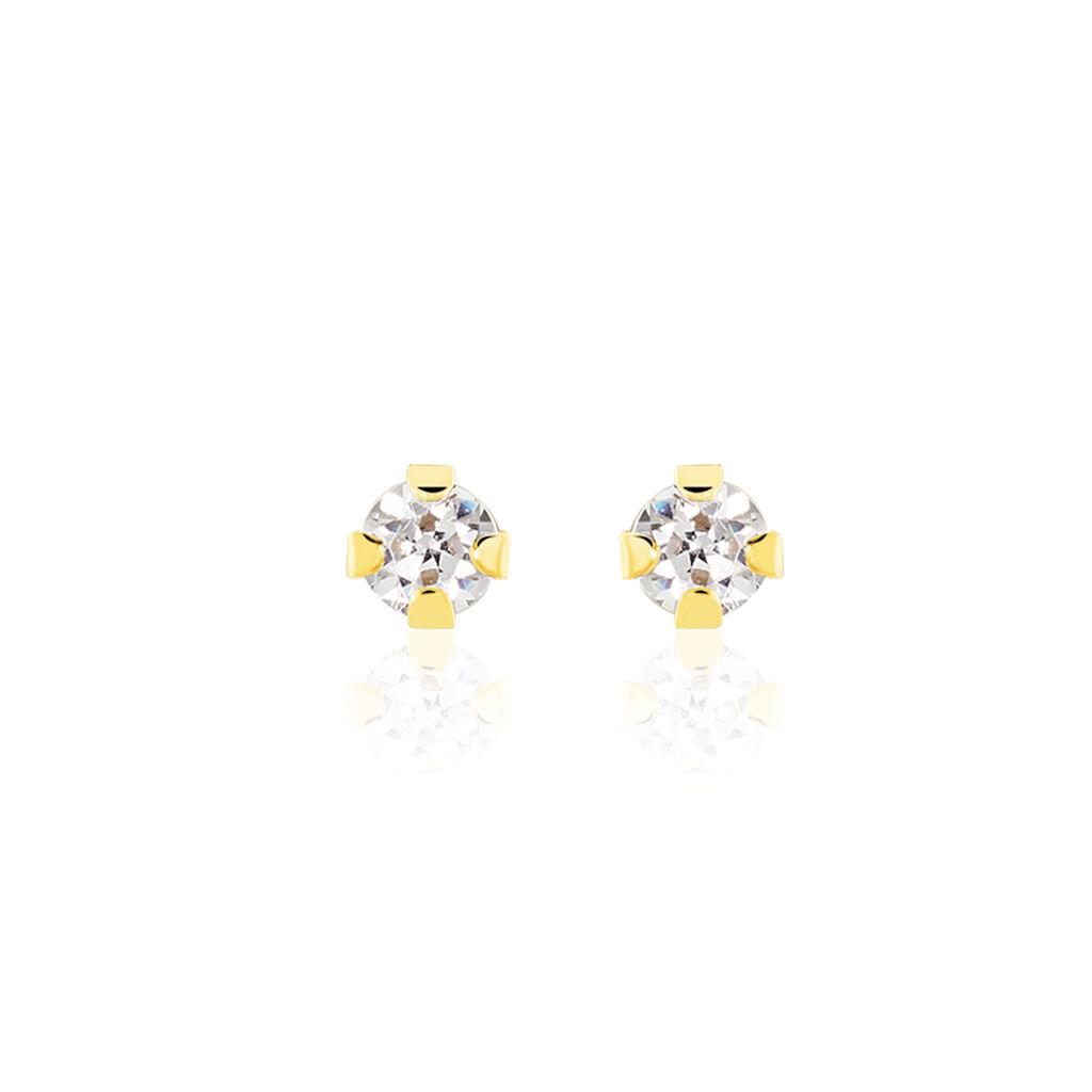 Boucles D'oreilles Puces Eddie Or Jaune Oxyde De Zirconium - Clous d'oreilles Femme | Histoire d'Or