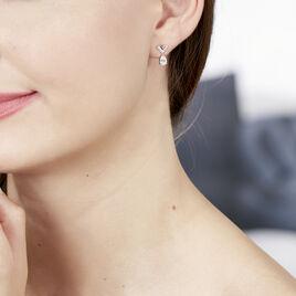 Boucles D'oreilles Pendantes Zettia Argent Blanc Oxyde De Zirconium - Boucles d'oreilles fantaisie Femme   Histoire d'Or