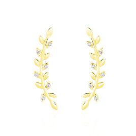 Bijoux D'oreilles Or Jaune Eloiza - Boucles d'Oreilles Plume Femme   Histoire d'Or
